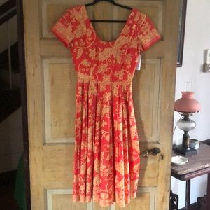 RARE!! Carolyn Schnurer Floral Print Dress